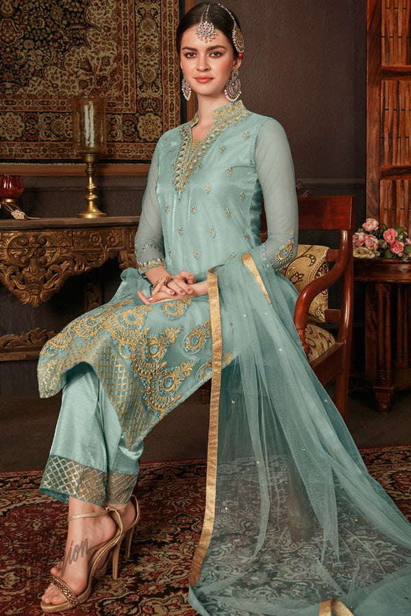 Sky Blue Net and Silk Straight Suit