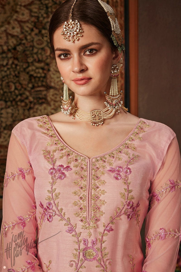 Pink Net and Silk Straight Suit