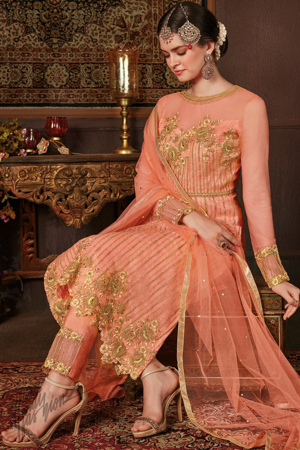 Peach Net and Silk Straight Suit