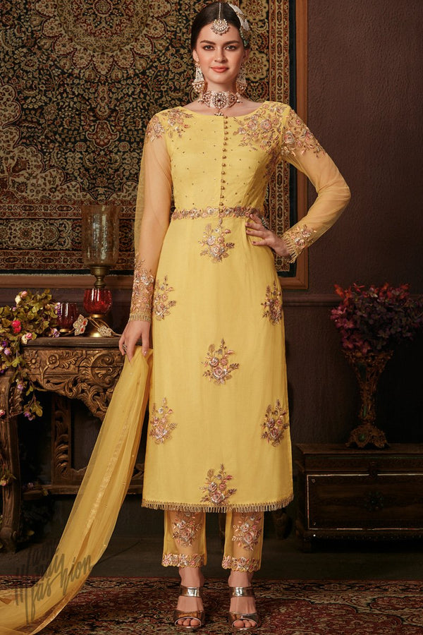 Yellow Net and Silk Straight Suit