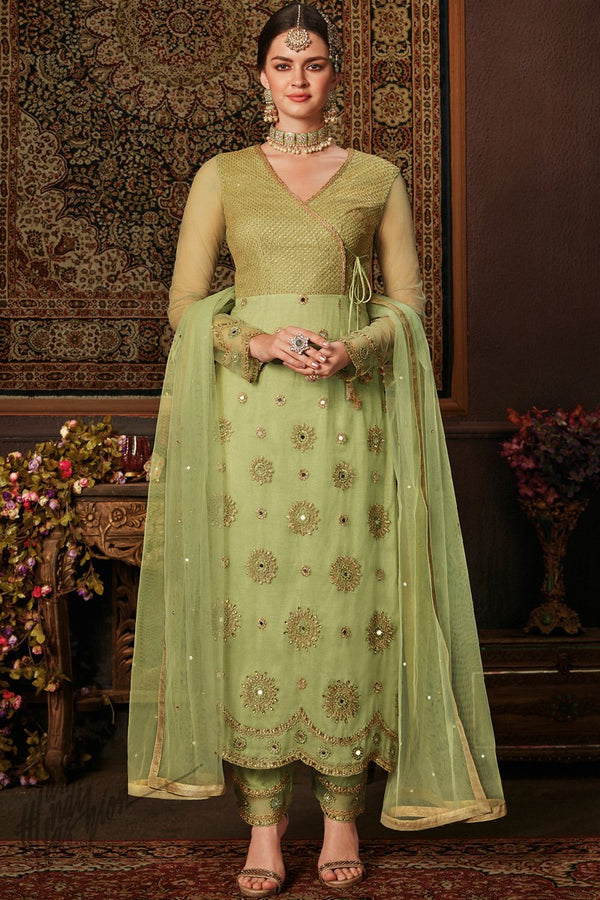 Green Net and Silk Angrakha Style Straight Suit