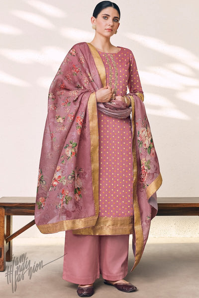 Onion Pink Cotton Silk Palazzo Suit