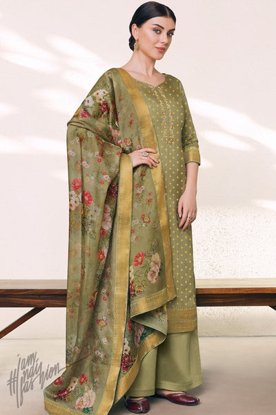 Dark Peach Cotton Silk Palazzo Suit