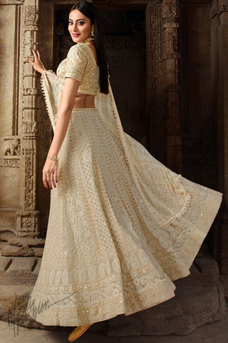 Buttermilk White Lakhnavi Chickankari Pure Georgette Lehenga Set