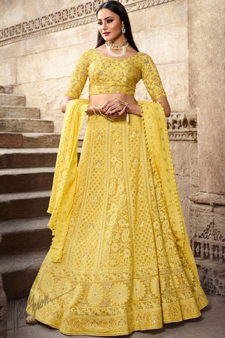 Corn Yellow Lakhnavi Chickankari Pure Georgette Lehenga Set