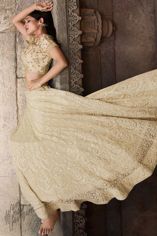 Tan White Lakhnavi Chickankari Pure Georgette Lehenga Set