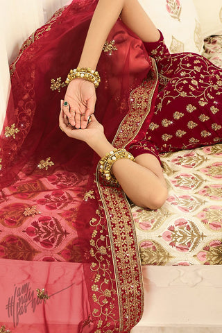Cream and Current Red Satin Silk Wedding Lehenga Set