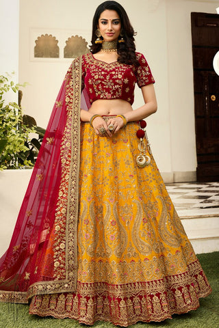 Marigold and Garnet Red Satin Silk Wedding Lehenga Set