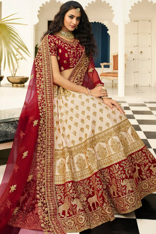 Ivory and Garnet Red Satin Silk Wedding Lehenga Set