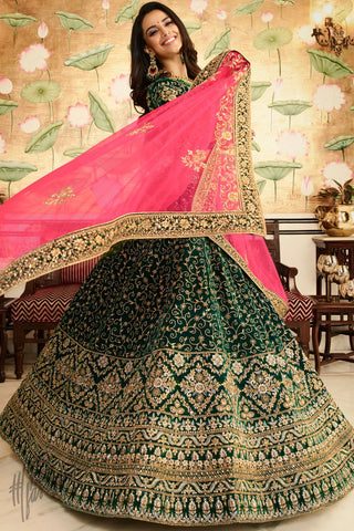 Bottle Green and Pink Velvet Wedding Lehenga Set