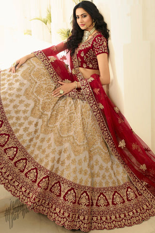 Beige and Scarlet Red Satin Silk Wedding Lehenga Set