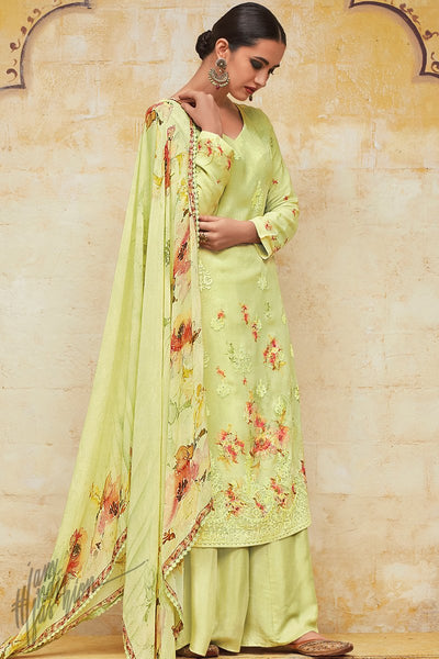 Light Pista Georgette Lakhnavi Palazzo Suit