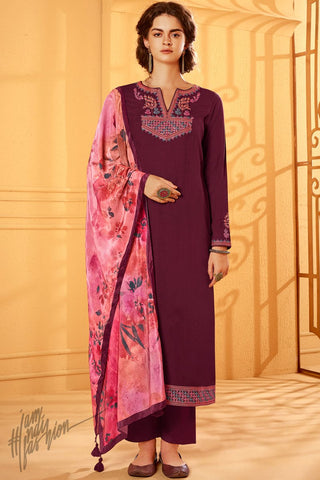 Wine Cotton Silk Straight Suit with Velvet Stole