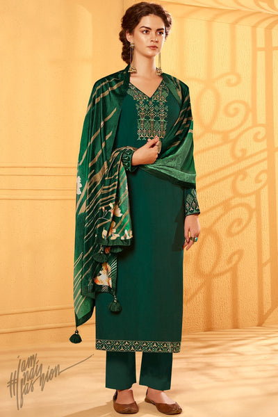 Bottle Green Cotton Silk Straight Suit with Velvet Stole