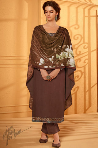 Chocolate Brown Cotton Silk Straight Suit with Velvet Stole