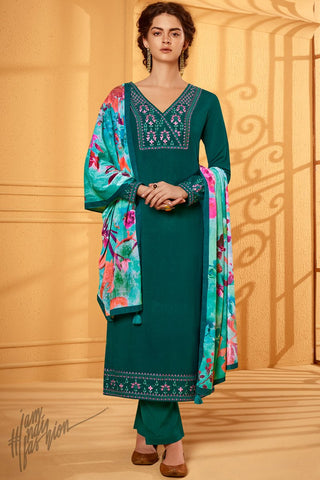 Ocean Green Cotton Silk Straight Suit with Velvet Stole