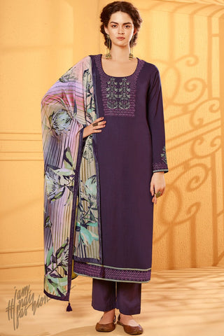 Violet Cotton Silk Straight Suit with Velvet Stole
