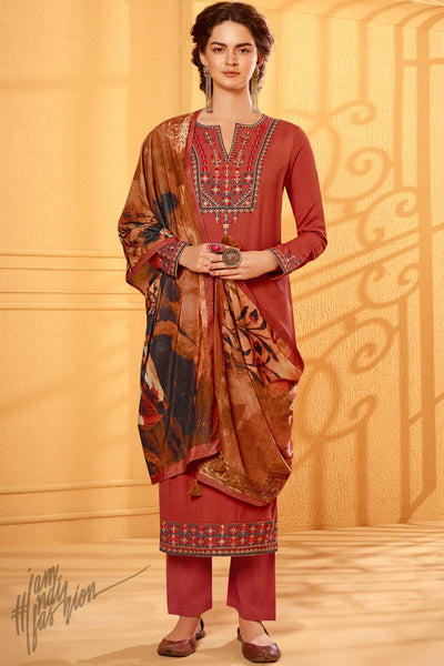 Brick Red Cotton Silk Straight Suit with Velvet Stole