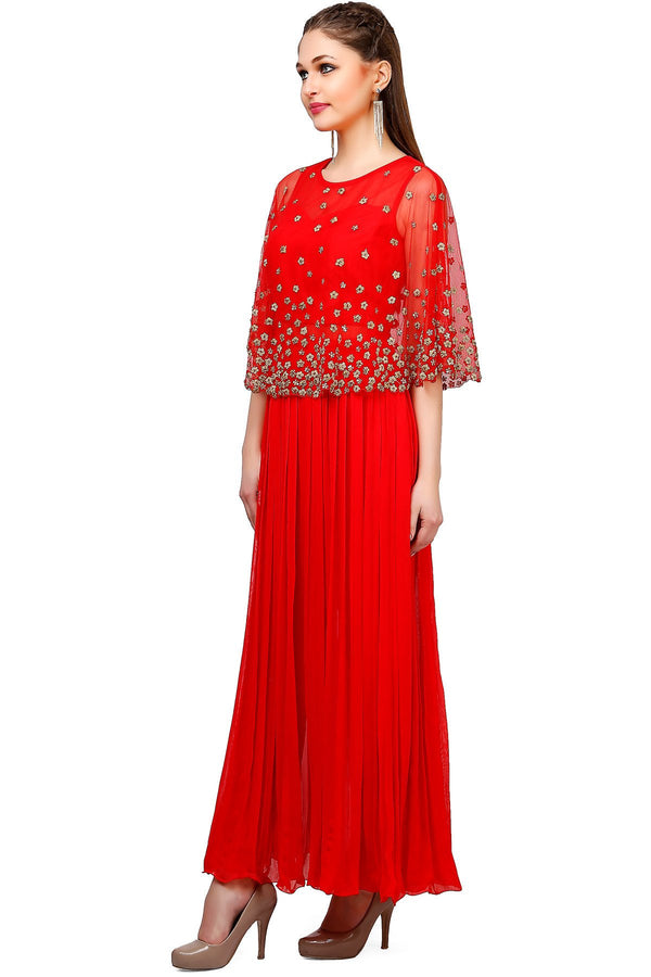 Indi Fashion Red Cape Anarkali Suit With Floral Embroidery