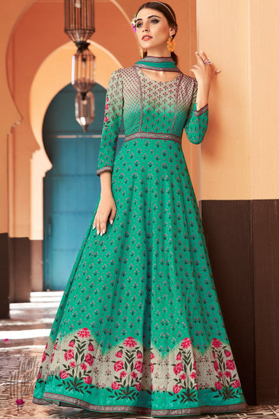 Green Shaded Cotton Satin Party Wear Gown