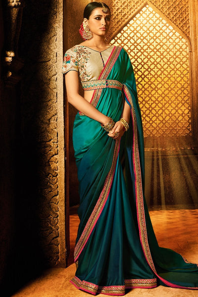 Indi Fashion Peacock Blue and Chiku Barfi Silk Party Wear Saree