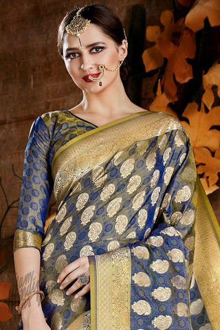 Indi Fashion Blue Kora Silk Party Wear Saree