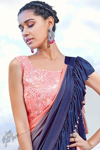 Blue Ombre and Peach Layered Lyrca Ready to Wear Saree