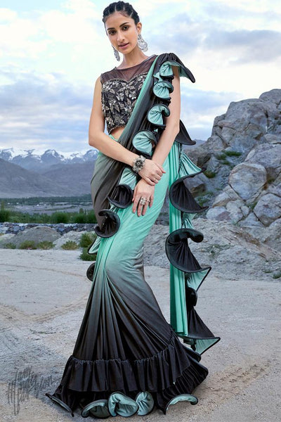 Mint Green and Black Ombre Lyrca Ready to Wear Saree