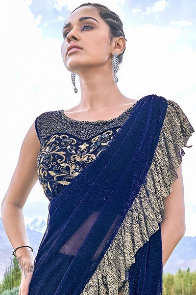 Blue and Beige Shimmer Lyrca Ready to Wear Saree