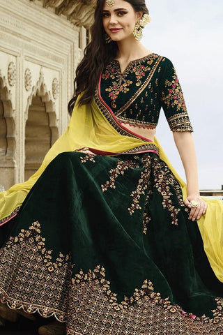 Indi Fashion Bottle Green and Lemon Yellow Velvet Party Wear Lehenga Set