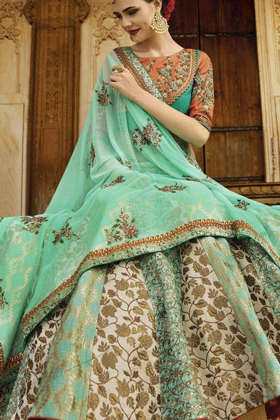 Indi Fashion Orange Sea Green and Cream Silk Party Wear Lehenga Set