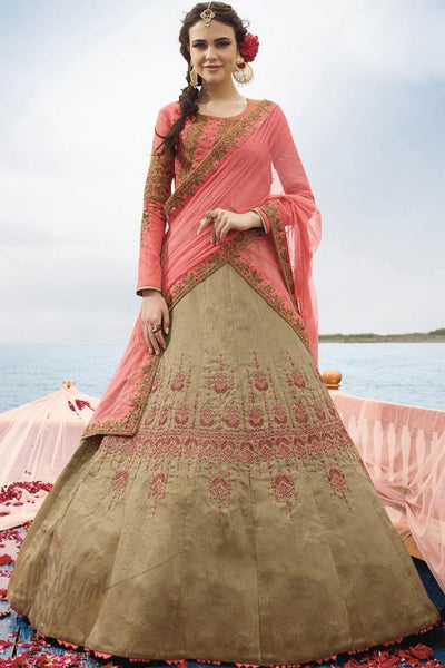 Indi Fashion Pink and Beige Silk Party Wear Lehenga Set