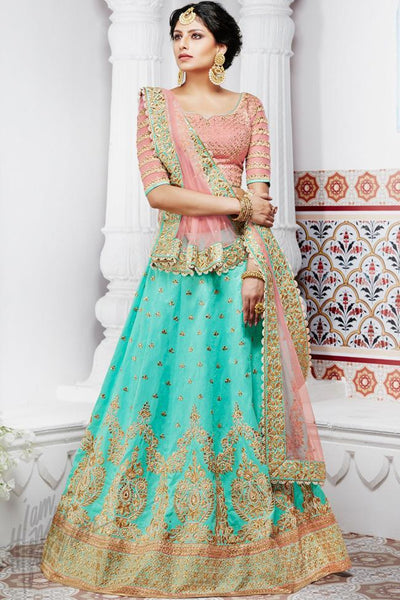 Indi Fashion Soft Peach and Rama Green Handloom Silk Wedding Lehenga Set