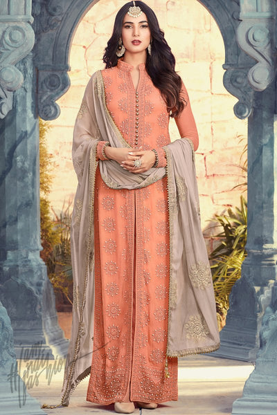 Indi Fashion Light Orange Georgette Ankle Length Party Wear Suit