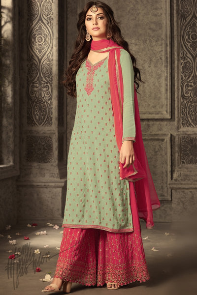 Indi Fashion Light Green and Hot Pink Georgette Party Wear Palazzo Suit