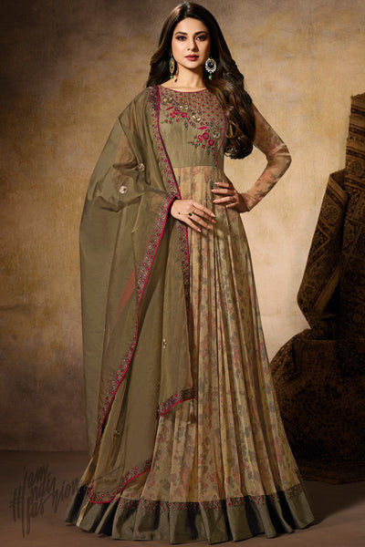 Mehandi Green Dual Tone Lycra and Silk Anarkali Gown