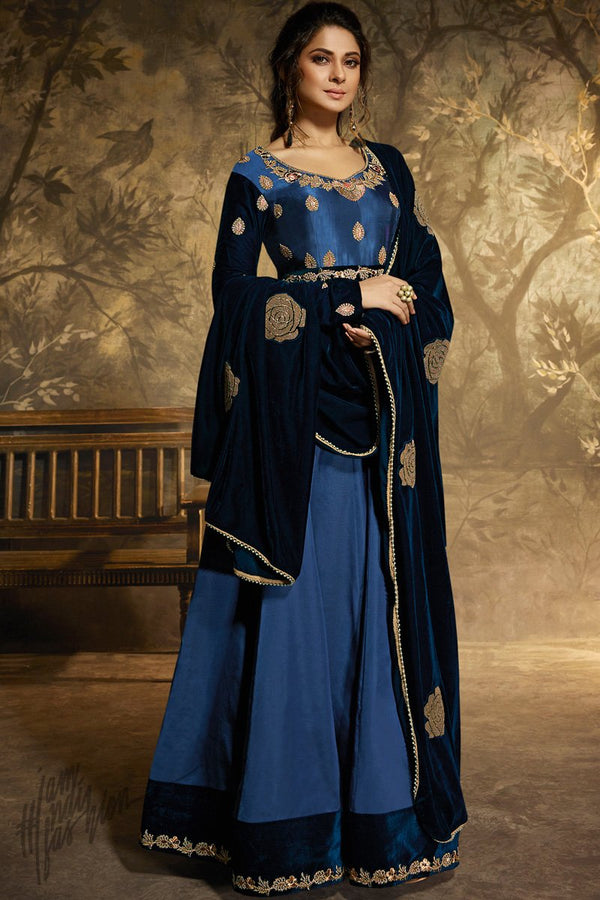 Royal and Navy Blue Satin Silk Anarkali Gown