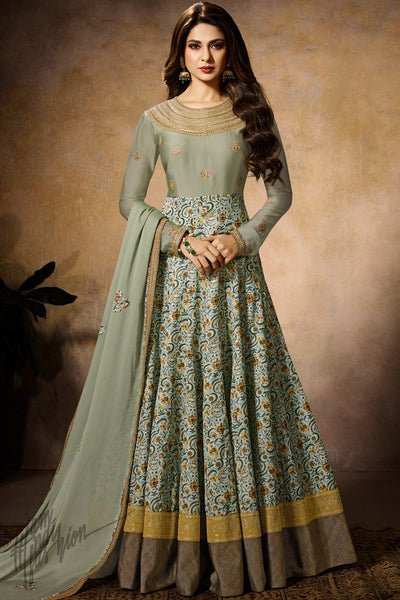 Light Sage Green Dual Tone Silk Georgette Anarkali Gown