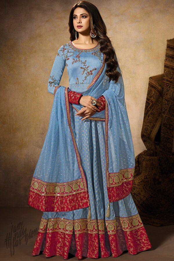 Light Blue Silk Anarkali Gown