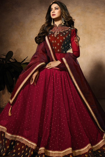 Maroon and Wine Dual Tone Velvet Anarkali Gown