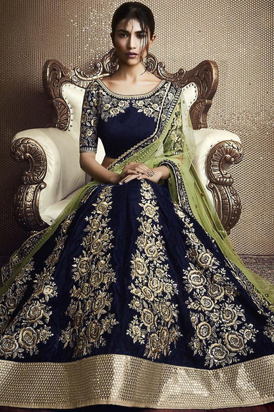 Indi Fashion Navy Blue and Pista Green Velvet Wedding Lehenga