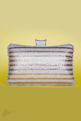 Indi Fashion Falak Silver Mirror and Stone Studded Metal Clutch