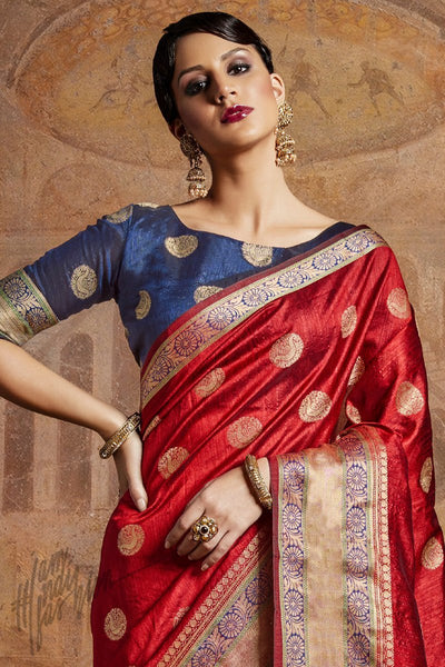 Indi Fashion Red and Blue Self Weaving Silk Saree