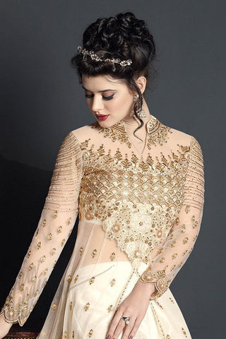 Indi Fashion Off White Net and Silk Party Wear Suit