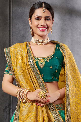 Green and Yellow Silk Lehenga Set