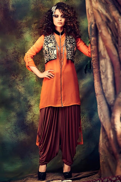 Indi Fashion Orange Georgette Party Wear Patiala Suit With jacket