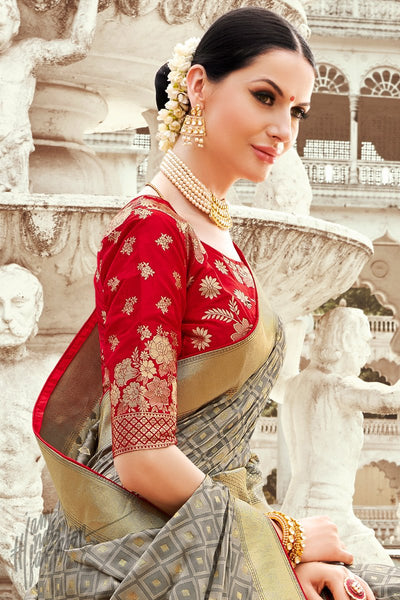 Red and Gray Banarasi Jacquard Silk Saree