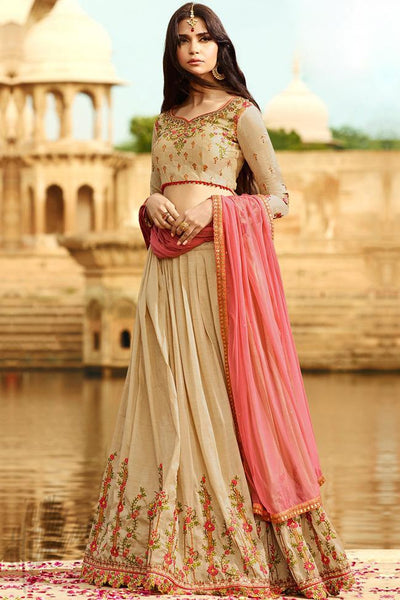 Indi Fashion Beige Silk Lehenga Choli Set