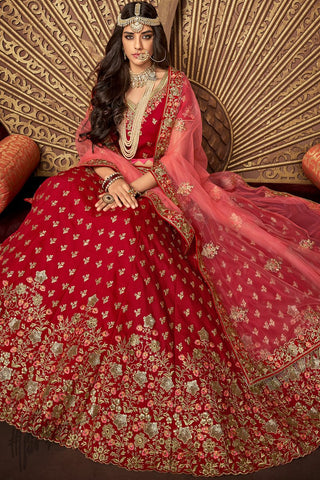 Cherry Red Silk Wedding Lehenga Set