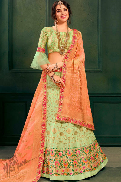d7e2113d4fa4 Green and Peach Banarasi Jacquard Silk Lehenga Set ...